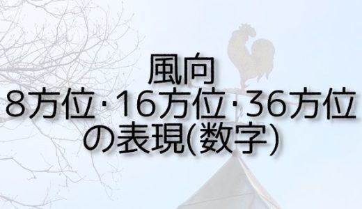 風向8方位・16方位・36方位の表現(数字)