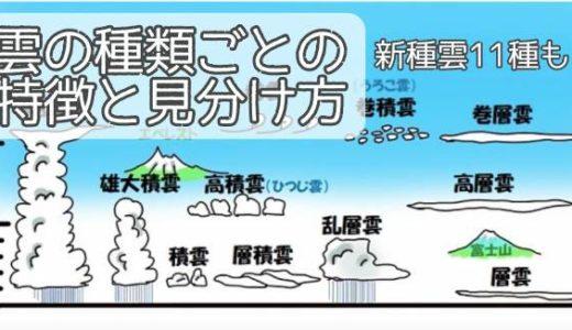 雲の種類ごとの特徴と見分け方・名前~新種雲11種や成層圏・中間圏の雲とは